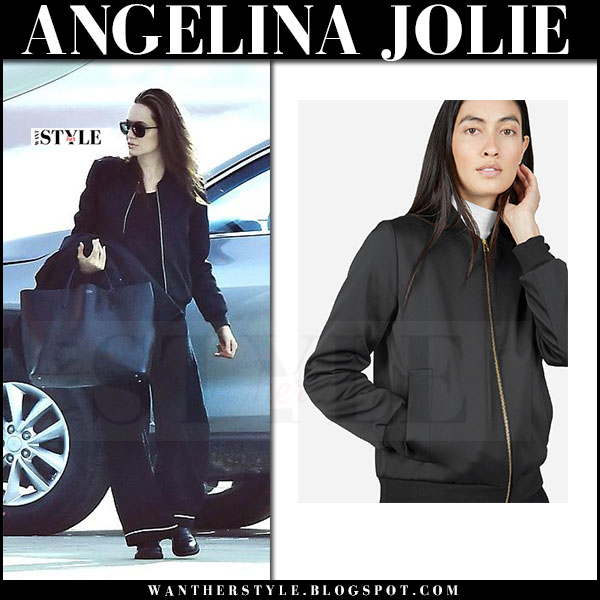 Angelina Jolie in black satin bomber jacket everlane the e2 and black pants what she wore