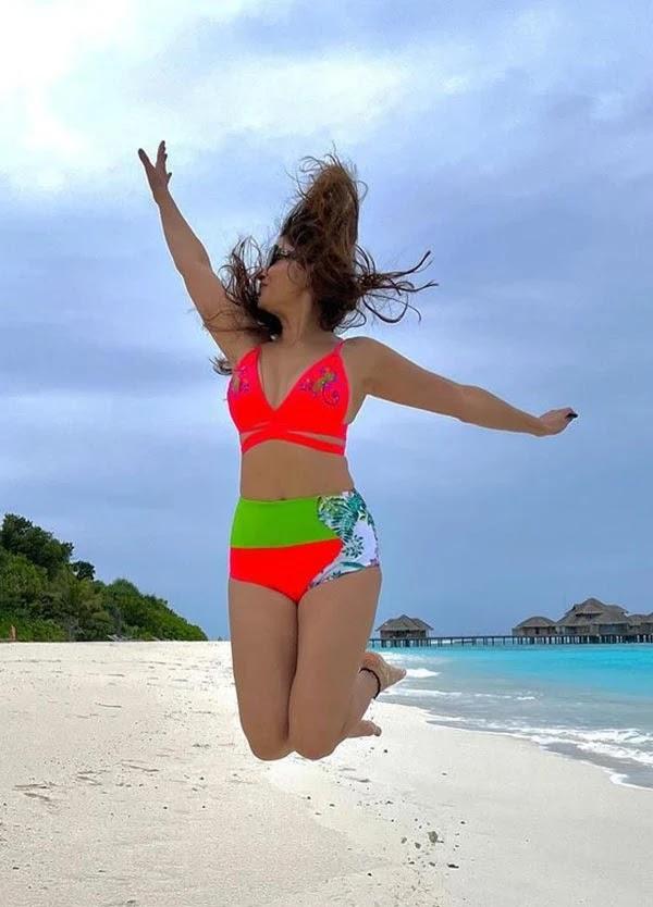 Rubina Dilaik in bikini enjoys a vacation in Maldives