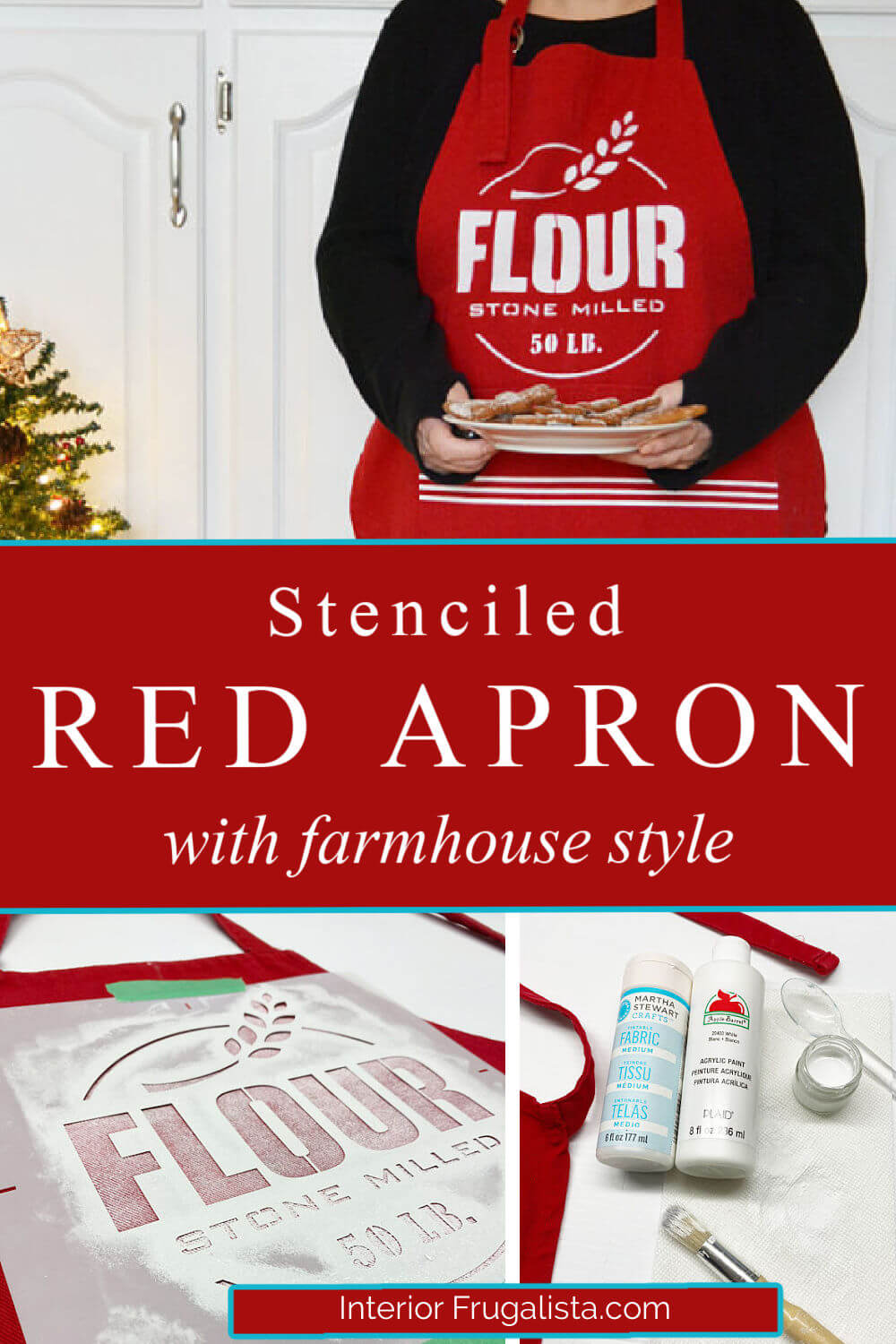 It's easy to stencil on fabric and glass with this easy to follow tutorial. Demonstrating how using the same Flour Stone Milled and Grain Sack Stripe stencils with farmhouse style on a red apron and vintage sash window glass. #stenciledaprons #farmhouseapron #redapron #stenciledglass #stenciledwindow