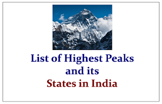 List of Highest Peaks and its States in India- Expected GK Study Materials