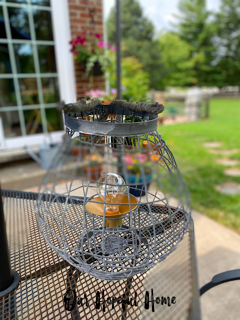 large wire hanging lantern patio table