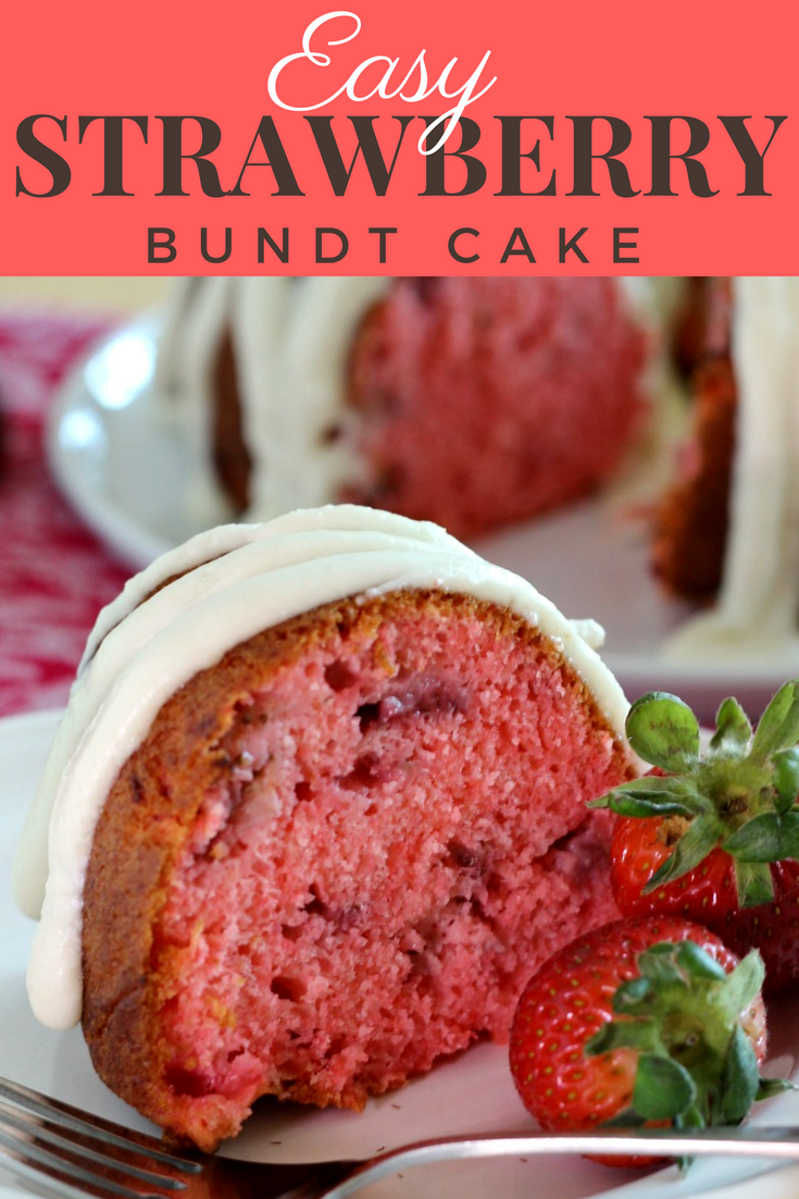 Easy Strawberry Bundt Cake by Renee's Kitchen Adventures - easy strawberry cake recipe that starts with a boxed mix. Made with jello and fresh or frozen strawberries for a moist cake bursting with strawberry flavor! #strawberrycake  #strawberrybundtcake #bundtcake #cakemix