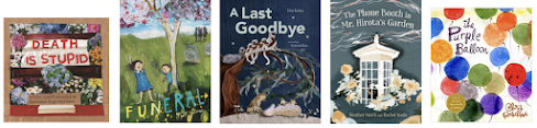 Books covers for Death is Stupid, The Funeral, A Last Goodbye, The Phone Booth in Mr. Hirota's Garden, The Purple Balloon