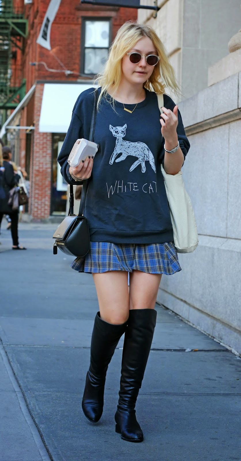 Dakota Fanning Channels Hipster Style In Miniskirt And