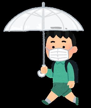 傘をさして歩く学生のイラスト(小学生・男子・マスク)