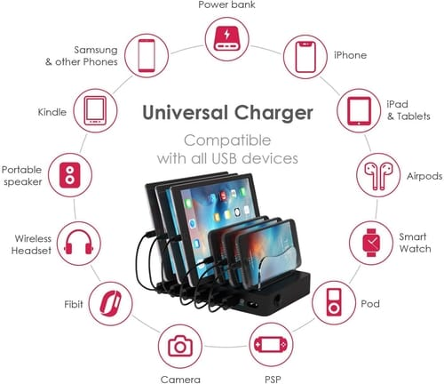 TIMSTOOL 6 USB Charging Station for Multiple Devices