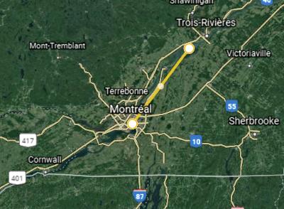 Créer une bulle de 100km autour de Montréal