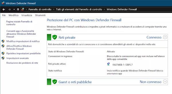 regole firewall PC