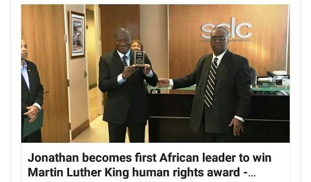 Former Nigerian President Goodluck Jonathan win Martin Luther King Human Rights Award