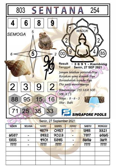 Syair Sentana Singapura45 Senin 27-Sep-2021