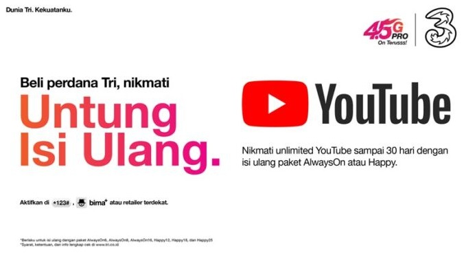 Cara Mendapatkan Kuota Unlimited YouTube Tambahan dari Tri