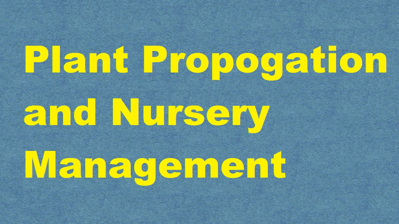 Plant Propogation and Nursery Management ICAR ecourse PDF download E krishi shiksha
