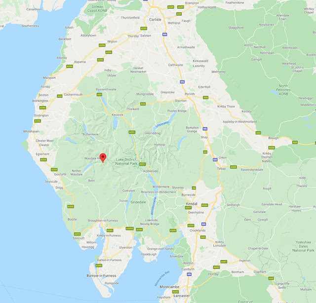 Where is scafell pike Lake District Cumbria England location map drive parking