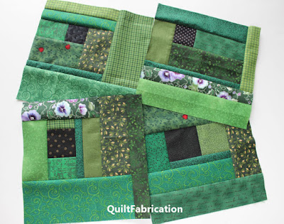 scrappy green quilt blocks