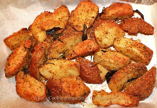 these are crunchy polenta potatoes and baked with fresh herbs