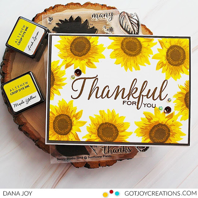 Sunny Studio Stamps: Sunflower Fields Elegant Leaves Customer Thankful Card by Dana Joy
