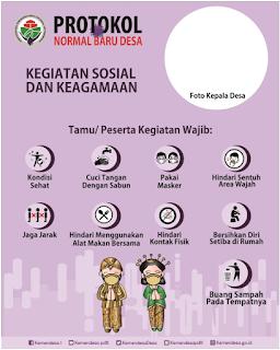 Contoh Desain Gambar Protokol Normal Baru Desa kegiatan sosial dan keagamaan tomatalikuang.com