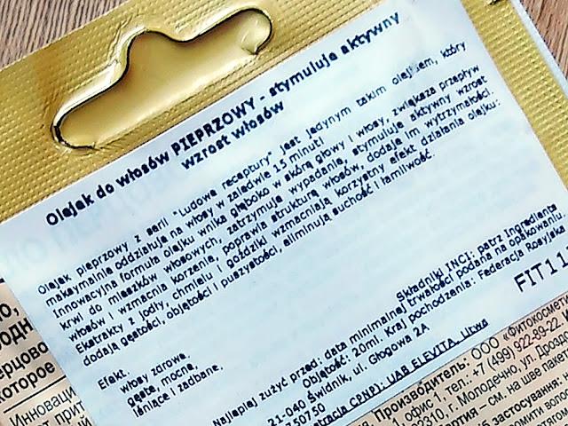 Fitokosmetik - Pieprzowy olejek do włosów z ekstraktem z jodły, chmielu i goździków - Aktywny wzrost, etykieta