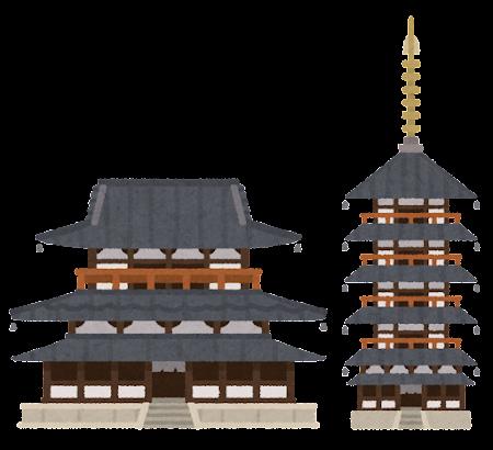 法隆寺のイラスト