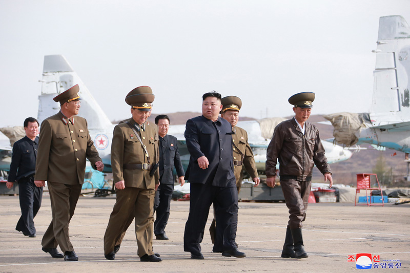 Kim Jong Un Guides Flight Drill of Unit 1017 of KPA Air and Anti-Aircraft Force