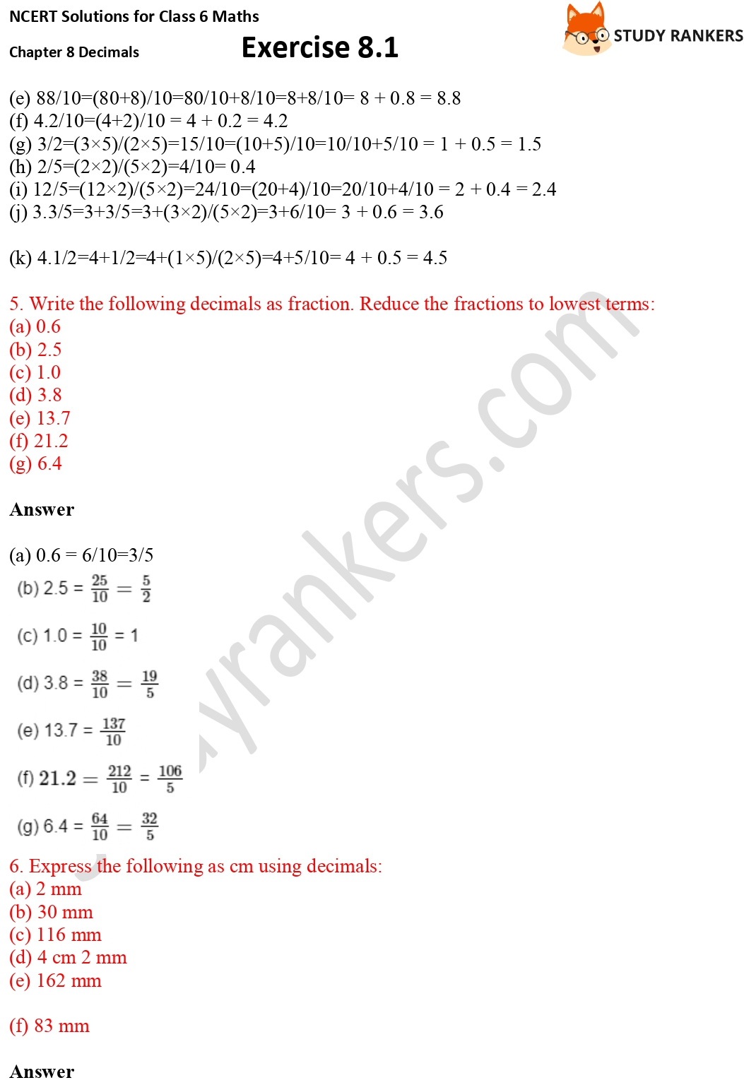 NCERT Solutions for Class 6 Maths Chapter 8 Decimals Exercise 8.1 Part 3