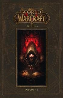 Portada del libro World of Warcraft Cronicas, donde tiene la apariencia de un libro antiguo, con pasta color cuero y la imagen de Medievh en el medio.