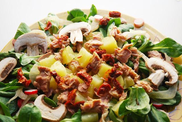 Salade mâche - pommes de terre - thon