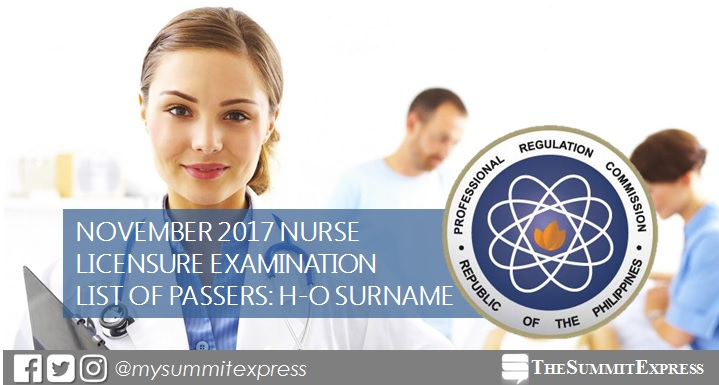 H-O Passers List: NLE Result November 2017 nursing board exam