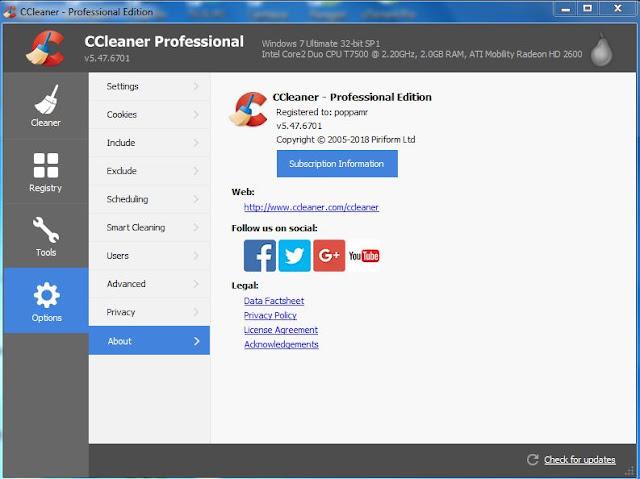 برنامج CCleaner pro 5.47.6  لتنظيف وتسريع جهاز الكمبيوتر