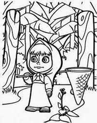 mewarnai gambar masha and the bear bermain di hutan