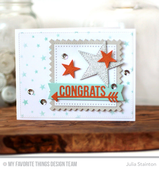 Starry Congrats Card by Julia Stainton featuring the Starry Night Background Builder stamp, and the Arrow Greetings, Stitched Pinking Edge Square STAX, Cross-Stitch Square STAX, Stitched Star STAX, Blueprints 12, and Blueprints 13 Die-namics #mftstamps