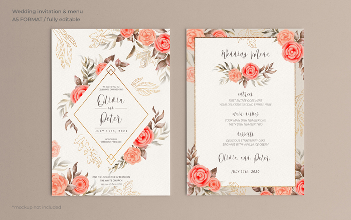Floral Wedding Invitation Menu Template With Soft Nature