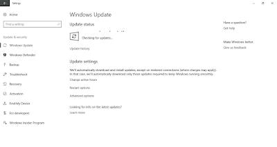 Tampilan Pengaturan Windows Update pada Windows 10