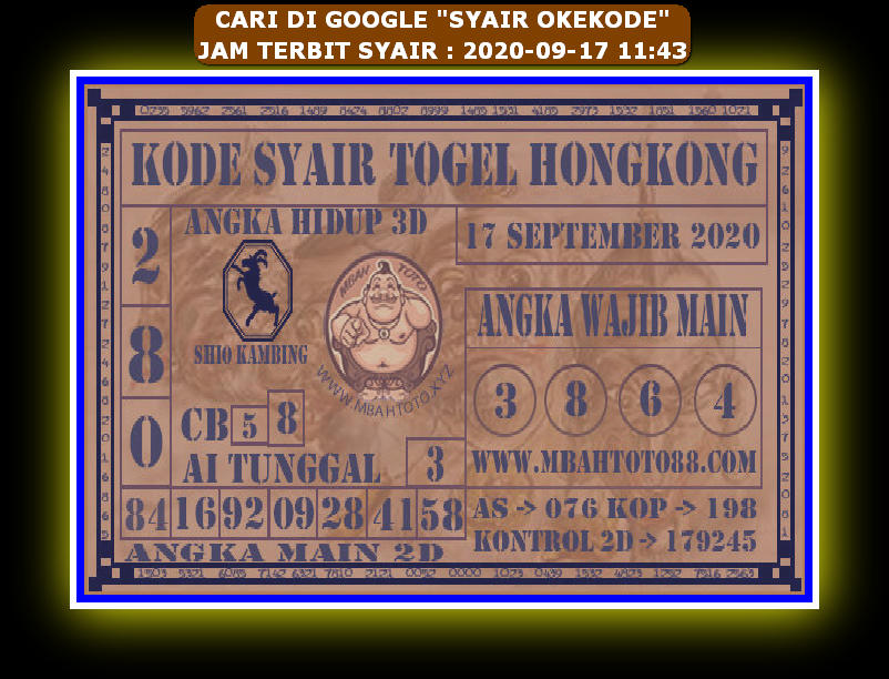 Kode syair Hongkong Kamis 17 September 2020 283