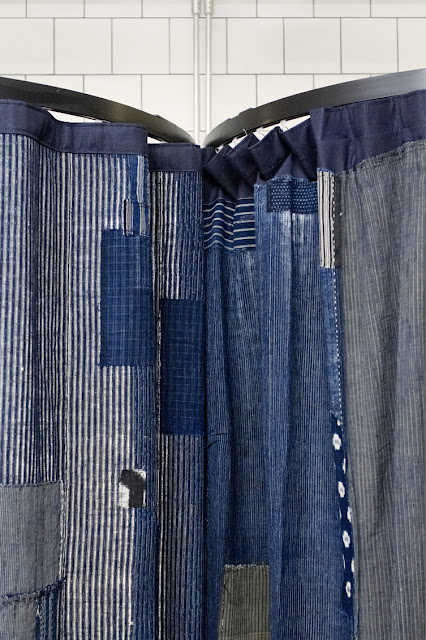Indigo changing room curtain,  Nudie Jeans, London....picture found at WeHeart