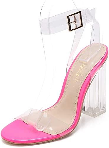 50% off   Clear Heels Chunky Heel Ankle Strap Sandals Open Toe Block Heels