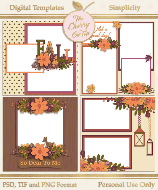 Simplicity digital scrapbooking templates