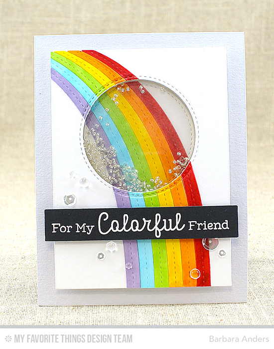 Colorful Friend Card by Barbara Anders featuring Rainbow Greetings stamp set and End of the Rainbow and Inside & Out Stitched Circle STAX Die-namics #mftstamps