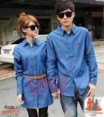 Baju Kemeja Polos Lengan Panjang Couple wanita dan Pria