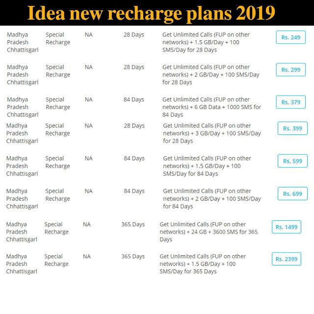 idea new recharge plan chart/ list 2019 idea ka naya plan 2019