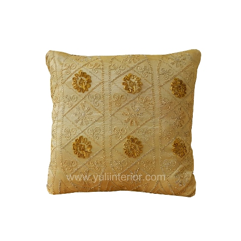 "Yuli Interior 18"" Decorative Gold and Brown Throw Pillow, Nigeria"