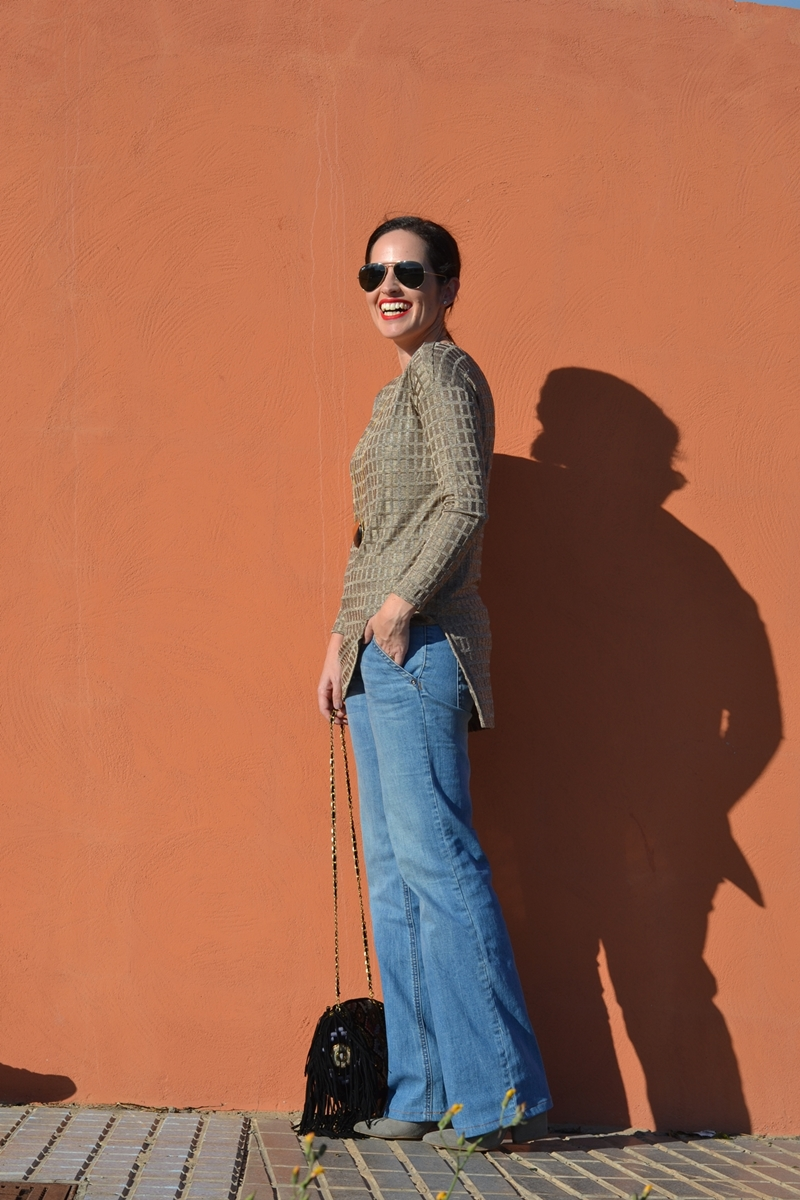 zara-gold-jersey-flared-jeans-outfit-street-style