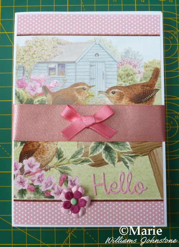 Set of finished Hunkydory Little Books notecards Spring bird design pink