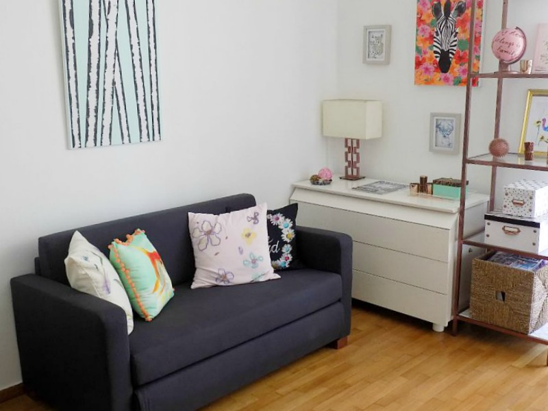 Home office, the sofa and the dresser