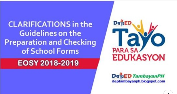 Clarifications in the Guidelines on the Preparation and Checking of School Forms