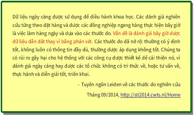 'Tuyên ngôn Leiden về các thước đo nghiên cứu' - bản dịch sang tiếng Việt