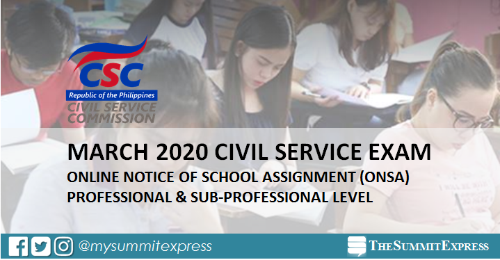 Room assignment ONSA, reminders: March 2020 civil service exam CSE-PPT