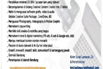 Lowongan Kerja Content Creator Halim Qur'an Bandung