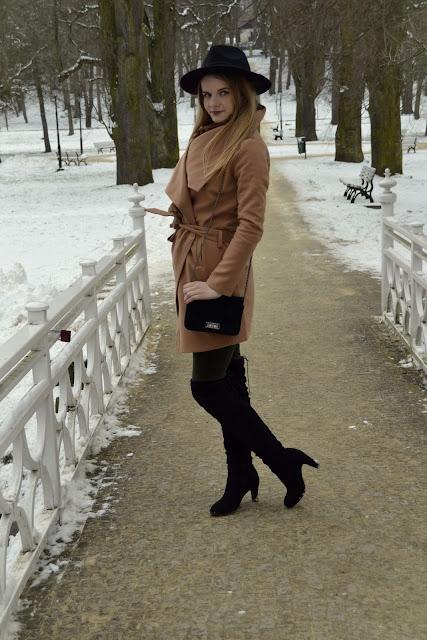 323. Zimowa stylizacja&Camelowy płaszcz. #Nałęczów ♥