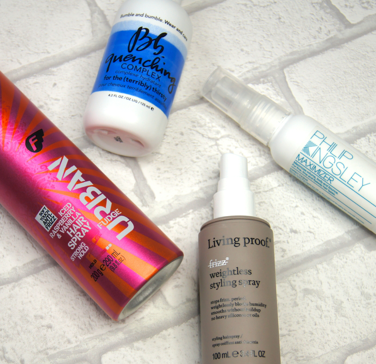 haircare favourites 2015 bumble and bumble quenching complex living proof no frizz styling spray philip kingsley maximiser fudge raspberry vanilla review